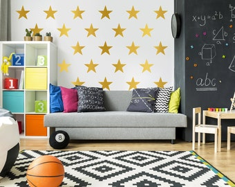 Gold Star Decals - Gold Star Decal Set - Gold Star Decor - Nursery Decal Stars - Star Wall Decals - Star Decals - Star Pattern Decal