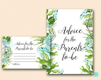 Succulent Baby Shower, Advice for Parents to be, advice for new parents, advice cards,  Baby Shower Games, Baby Shower Activities TLC519