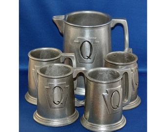 Vintage Wilton Armetale RWP Set of 4 Tankards / Mugs and Tavern Pitcher Circa 1965 Metalware