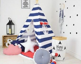 Childrens Teepee, Play Teepee, Kids Teepee Play Tent, Reading Lamp, Navy Blue Teepee, Stripes Teepee, Marines Teepee, Playmat, Wigwam
