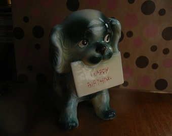 Teal Dog holding a Happy Birthday Sign ~ Planter ~ Ucagco