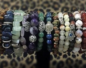 Gemstone Bracelets in bulk, Beaded Bracelet, Natural Gemstone Bracelet, Gifts, Gypsy Style, Boho Chic, stretch bracelets, grab bag