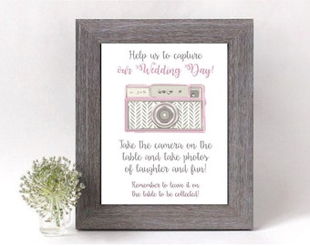 Wedding Camera Display print sign • Disposable camera