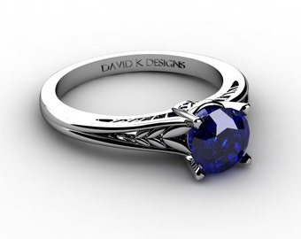 Nature Inspired 14K White Gold 1.0 Ct Blue Sapphire Cubic Zirconia Leaf Vine Unique Floral Engagement Ring R1124-14KWGBS