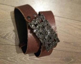 """Handmade Genuine Leather belt - 1.25"""" wide, jacketed belt, Unique Buckle, Brown Belt, Gift for hur"""