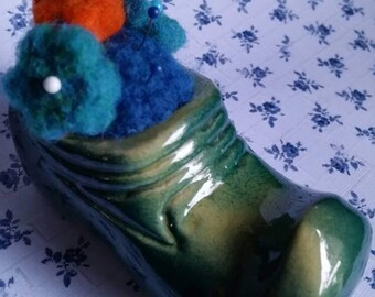 PIN CUSHION, Needle Felted Wool, Pin Cushion is Nestled in a Miniature, Vintage Green Ceramic Elf Boot, Adorable!