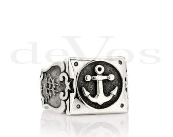 Anchor Ring - Anchor and Ship Ring