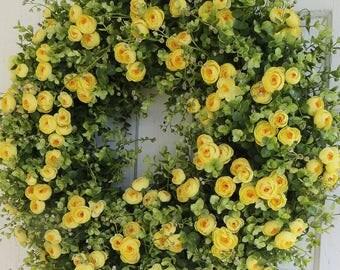 Summer Wreath, Yellow Ranunculus Wreath, Floral Wreath, Door Wreath, Centerpiece