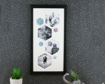 Hexagon picture frame, multi photo frame. Modern Minimalist Geometric Picture frame, living room decor.