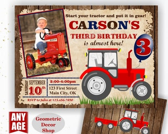 Tractor Birthday Invite, Tractor Invitation Tractor Invitations Woodland Rustic Wood Invite Digital File Red Blue Boy Photo Photograph BDT29