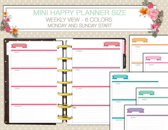 Universal image in happy planner monthly layout printable