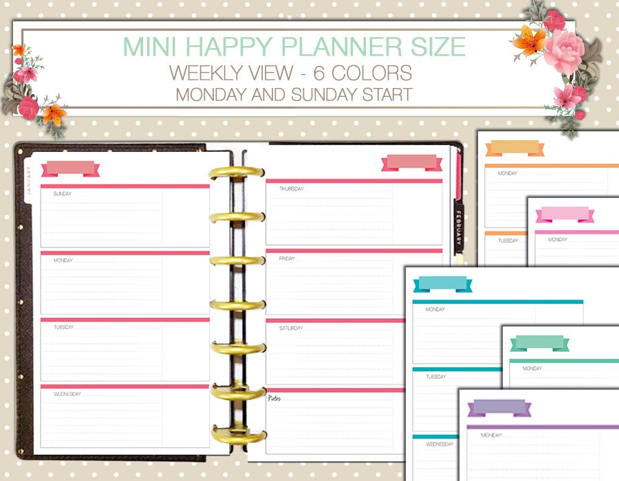 It's just a photo of Insane Free Mini Happy Planner Printable Inserts