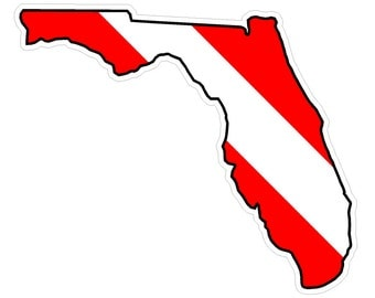 Florida State (Y1) Diver Down Flag Vinyl Decal Sticker Car Laptop/Netbook