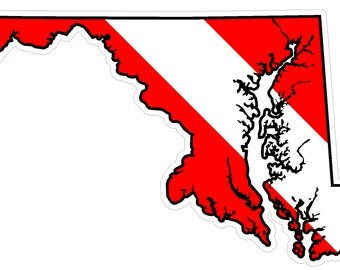 Maryland State (Y21) Diver Down Flag Vinyl Decal Sticker Car Laptop/Netbook