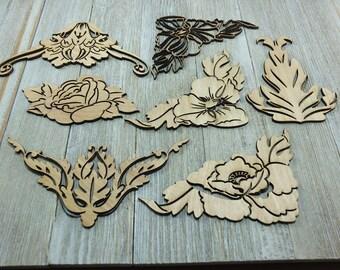 Laser cut wood decorations