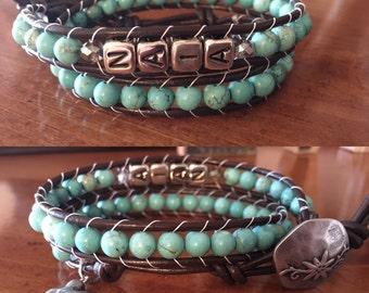 Turquoise Leather Wrap Name Bracelet Double Wrap Beaded With Child's or Children's Name Mommy Bracelet
