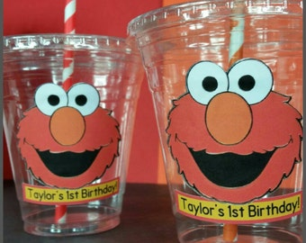 12 Personalized Elmo Inspired Party Cups with Striped Straws and Lids!, Elmo Plastic Party Cups