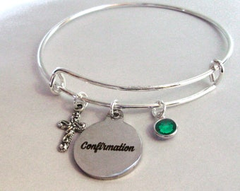 CONFIRMATION BANGLE W/  Antique sSlver Cross Adjustable Bangle W/ Swarovski Birthstone Crystal Drop - Religious Charm -  Gift For Her  FC1