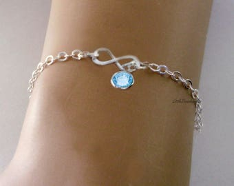 925 STERLING Silver INFINITY  Personalized  Birthstone Bracelet / Anklet - Graduation  Birthday  Wedding Gift  Dainty Minimalist Jewelry