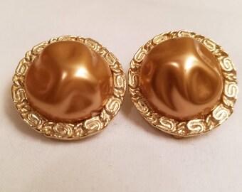 Vintage Coro Earrings, vintage Coro, vintage Baroque pearl earrings, vintage jewelry, vintage clip earrings, bronze colored earrings