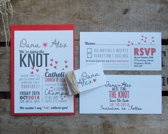 Wedding Invitations Tie The Knot Set - Rustic Wedding Invitations - Vintage Invites - Shabby Chic