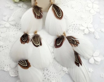 White Feather Shoulder Dusters (earrings)
