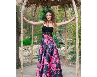 Maxi Skirt / Womens Skirts / Flowers Skirt  / Long Skirt / High Waisted  Skirt / Circle Skirt / Flared Skirt / Elegant Skirt /Prom Skirt