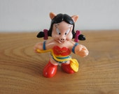 Vintage McDonalds Happy Meal Super Looney Tunes Petunia Pig As Wonder Pig Toy With Snap On Super Hero Costume Wonder Woman Collectible