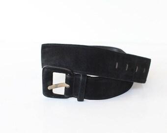 Vintage Women's Black Statement Belt, Size Large, Meridian