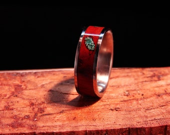Austarlian Red Gum Burl wood and Turquoise inlay Titanium Ring, Red Gum Burl Inlay Ring, Turquoise inlay ring, wood and stone inlay ring
