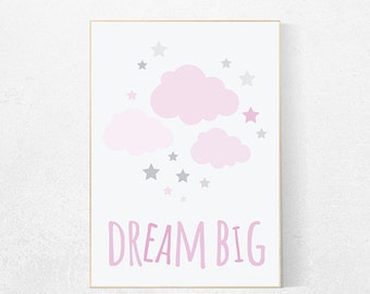 Dream Big Little One, pink and gray girls room decor, baby girl nursery decor, baby room art, baby girl room, nursery quote, girl nursery
