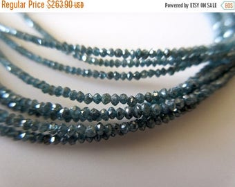 ON SALE 50% 4 Inches Blue Diamond Faceted Rondelle Beads, Natural Raw Rough Diamond Beads, 2mm Each