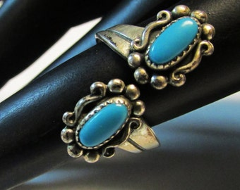 Vintage Estate Bell Trading Silver Bypass Turquoise Southwestern Ring