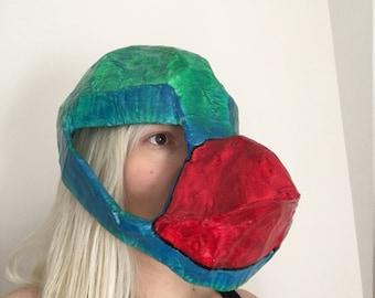 Paper mache Parrot mask / hat