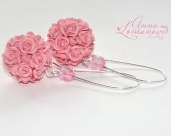 Pink rose Earrings Pink rose Ball  Earrings Pink Ball Earrings Pink Earrings Pink floral Earrings Pink spheres earrings Rose Drop Earrings