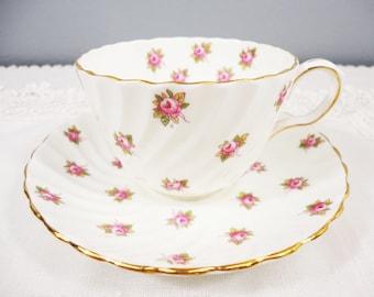 Aynsley Simple Rosebud Swirled Bone China Teacup and Saucer