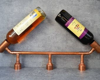 COPPER BOTTLE HOLDER 16  - industrial wine holder - industrial wine display - kitchen furniture - bar furniture - wine display