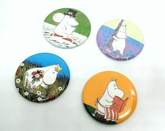 Moomin Family Badges/Fridge Magnets - Moomintroll,Snorkmaiden,Moominmama,Moominpapa