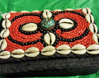 Beautiful 5 1/2x4 1/2 Beaded and Cowry Shell Purse/Shoulder Bag