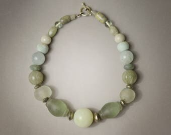 Ancient African Beads, Crystal and Burmese Stone Necklace