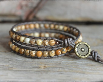 Gemstone Wrap Bracelet, Beaded Wrap Bracelet, Wrap Bracelet, Leather Wrap Bracelet, Boho Wrap Bracelet, Leather Bead Wrap Bracelet