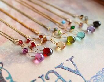 Vintage New Old Stock Cubic Zirconia Necklace // Choose Your Color // Rainbow CZ Necklace // Vintage Necklace // Swarovski Crystal