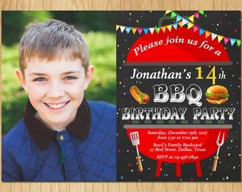 BBQ Birthday Invitation. Kids Barbeque Birthday Party Invite With Photo. Boy or Girl Bday. Any Age. Printable Digital. K0023