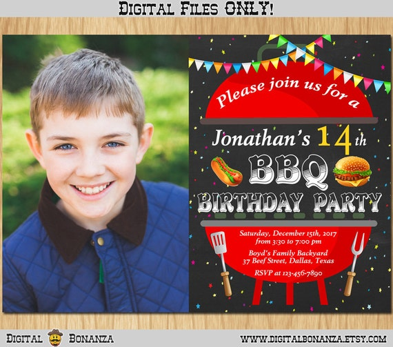 bbq birthday invitation kids barbeque birthday party invite with