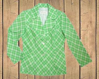 Koret of California Jacket UK 12 Green White Check USA Made 1970s ILGWL Union