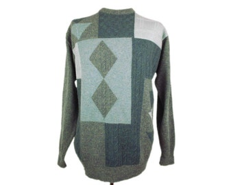 Vintage St Michael Mens Jumper Pullover Sweater 1990s UK Made Lambswool Crew Neck Geometric Patterned Green Size M Chest 38-40in 97-102cm