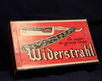 Vintage Cardboard Shipper Advert for Widerstrahl Straight Razors