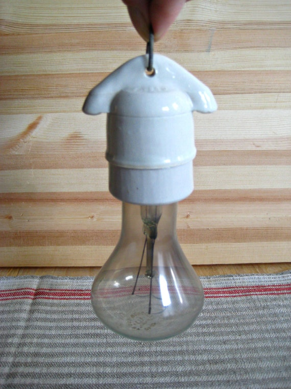 Items similar to vintage ceramic bulb holder industrial for Industrial pipe light socket