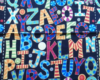 "Alphabet Panel, Alphabet and Numbers Panel, Hoopla and Everyday Fun Fabric Panel, 42"" Long x 23 1/2"" Wide, Alphabet Panels, Cotton"