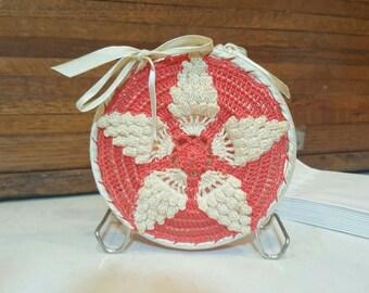Vintage Napkin Holder, Hand Crocheted, Hand Made, Farmhouse Country Kitchen,  Modern Farmhouse